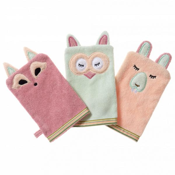 2012 – Breganwood – Bath Mitt – Playful Fox Sleepy Owl Busy Beaver