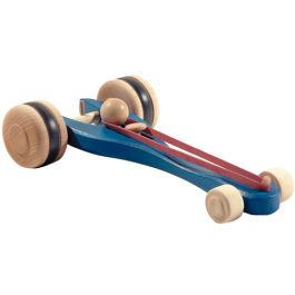 Blue rubber band propelled car