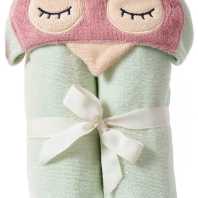 Sleepy Owl Hooded Wrap Towel in organic cotton