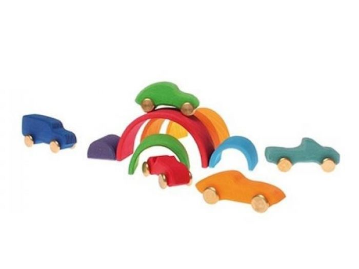 Wooden rainbow with cars
