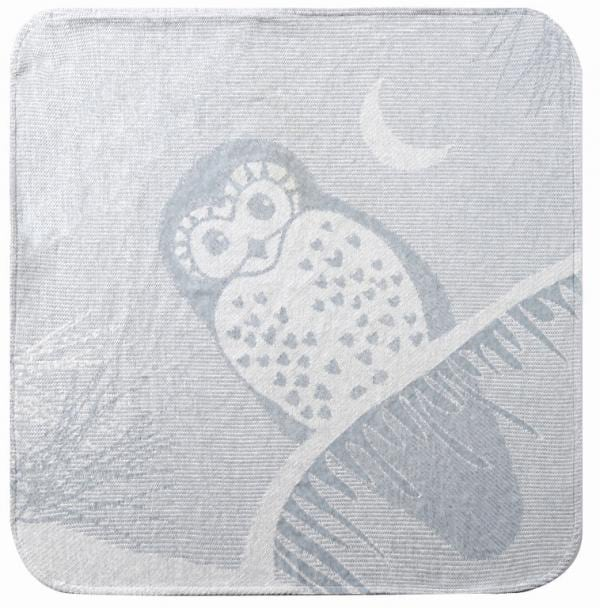 Hooded baby towel grey owl