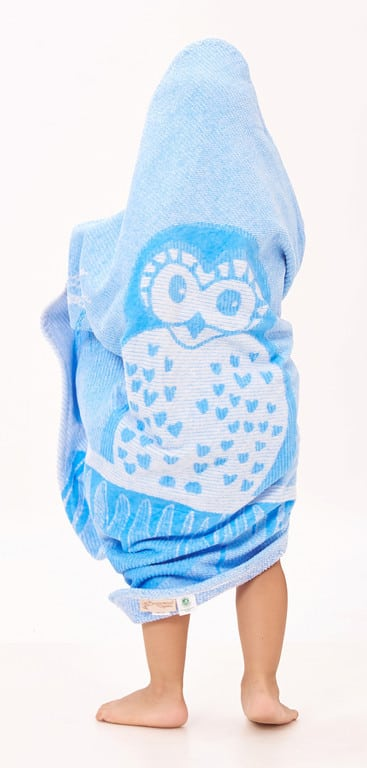 blue owl hooded towel