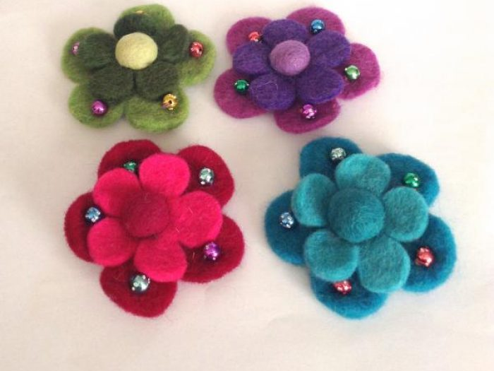 himalayan journey felt flower clips