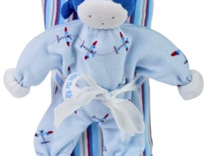 Under The Nile Organic Striped Swaddle & Doll with Aeroplane print