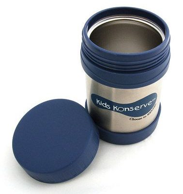 Insulated thermos for kids in dark blue