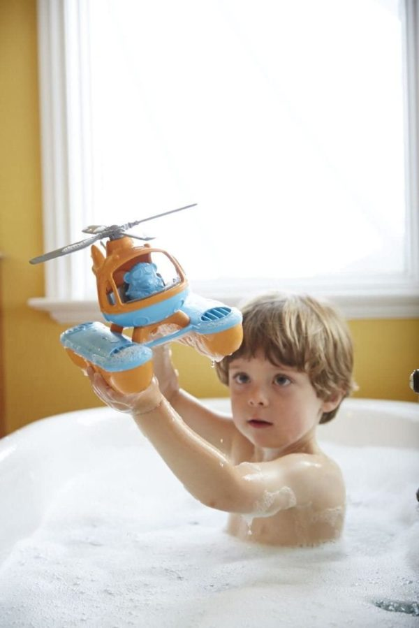 Bubble bath flying plastic helicopter toy