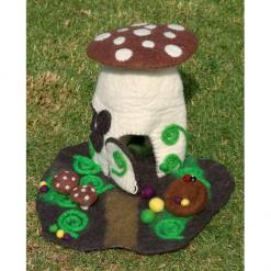 felt woodland toadstool home