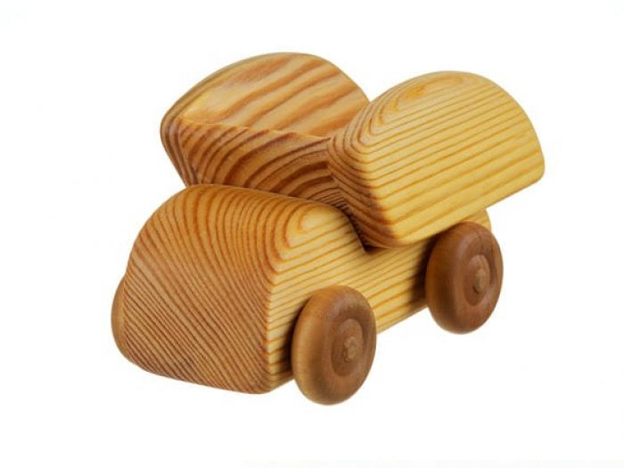 small natural wooden dump truck toy