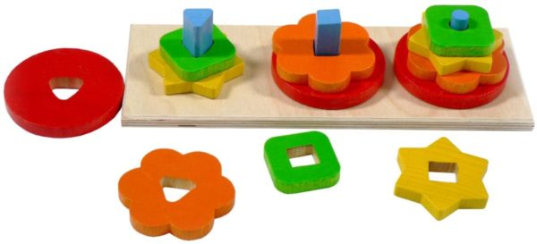 Colourful wooden stacking shape set