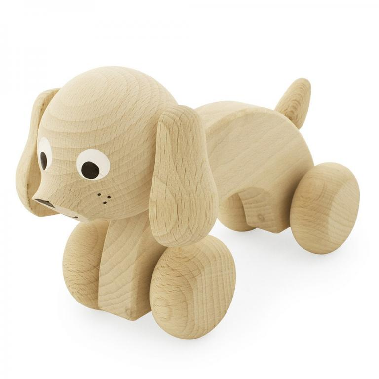 raw wood puppy dog toy