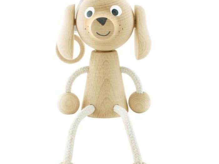wooden dog toy on spring