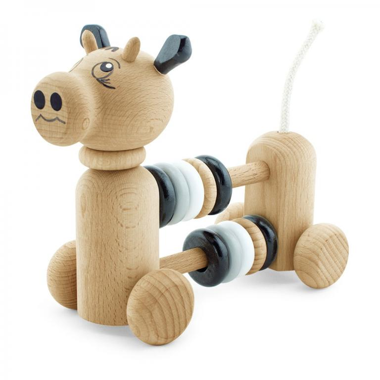 Wooden cow with counting beads