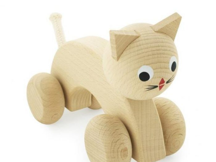 wooden cat push along toy