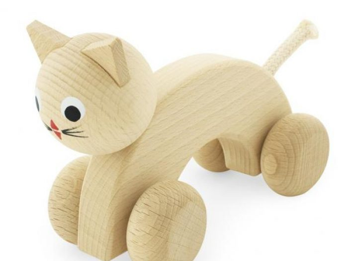 Handmade wooden push along cat toy