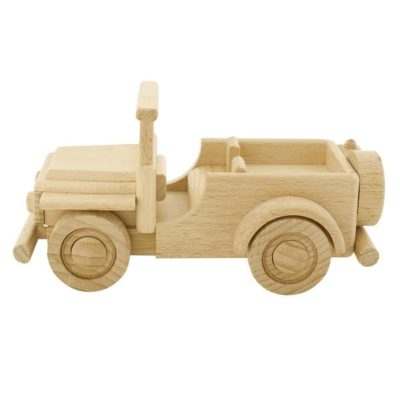Eco friendly wooden toy jeep