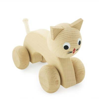 Miva Vacov wooden cat push along cat