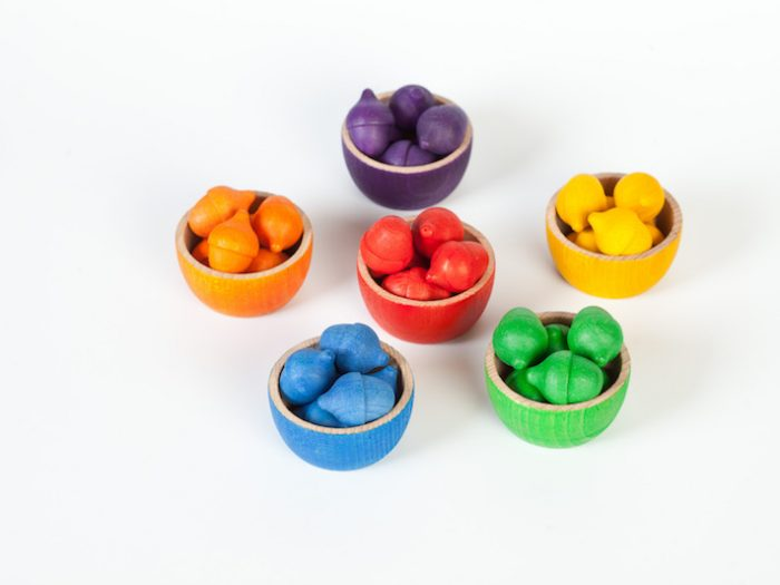 eco wooden sorting bowls and acorns