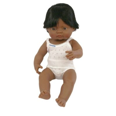 Hispanic boy doll dressed in white