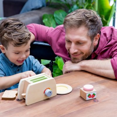 Play wooden toy toaster set