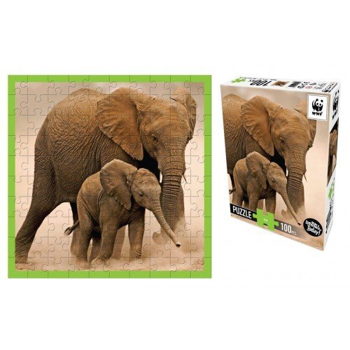 100 piece puzzle mother and baby elephants