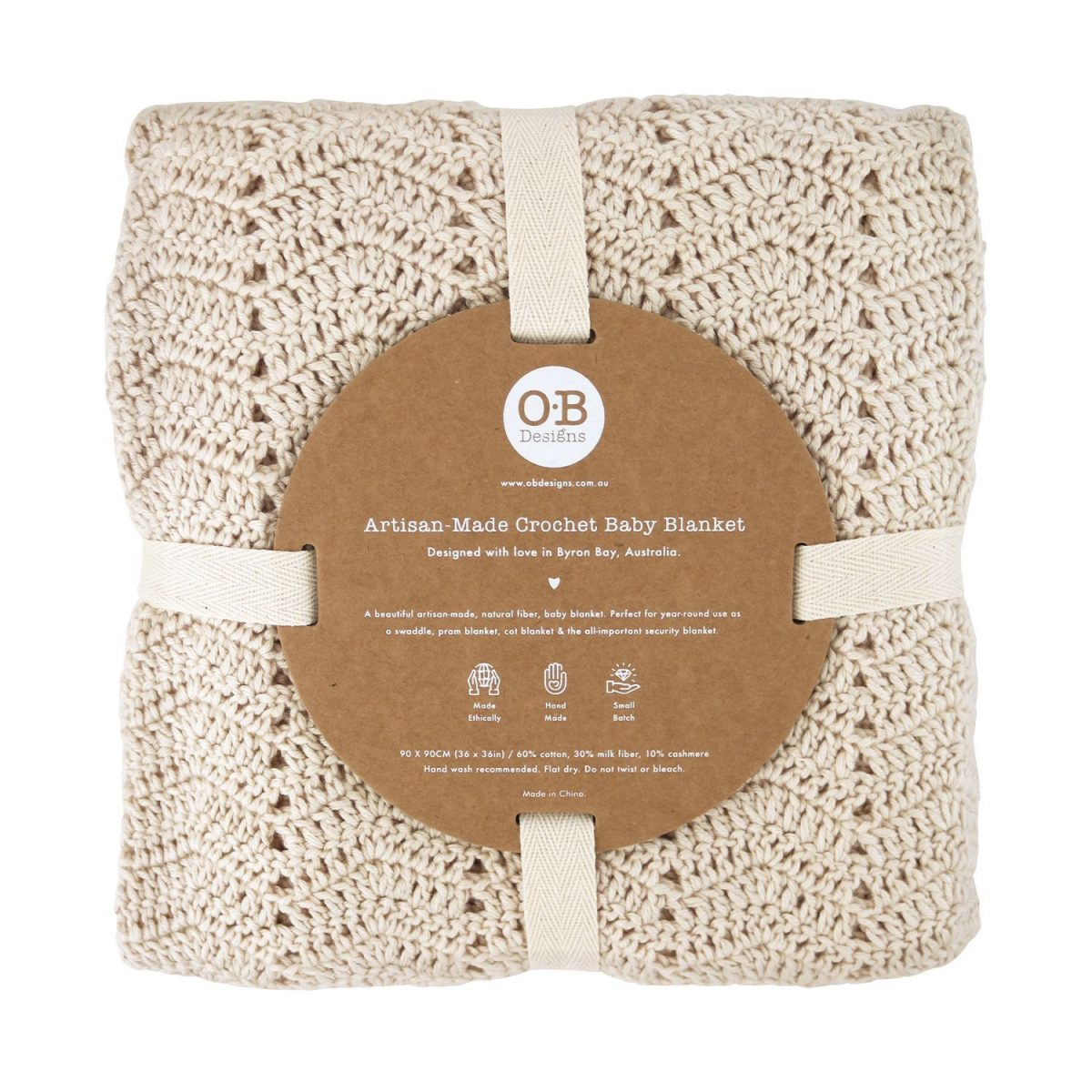 O.B Designs packaged vanilla baby blanket