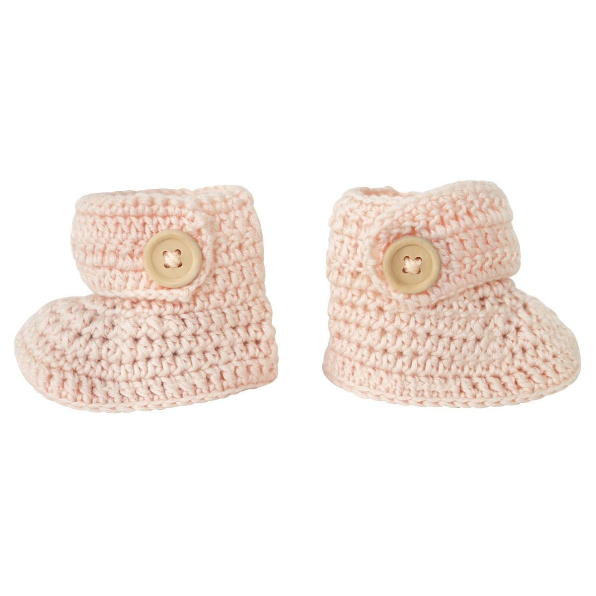 crocheted booties in peach