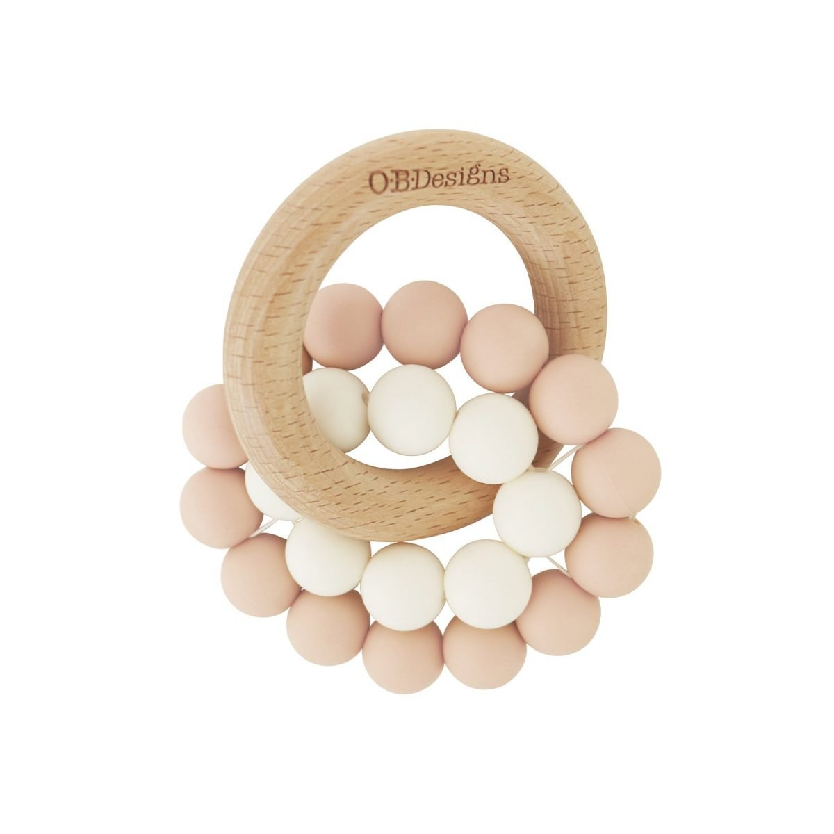 peach wooden coloured teething toy