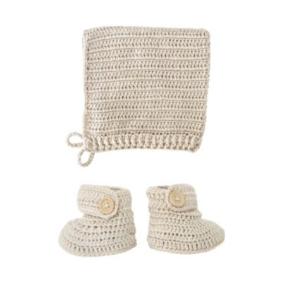 crocheted vanilla booties and bonnet set